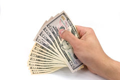 American dollar banknote in the hand.  Royalty Free Stock Image