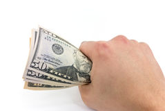American dollar banknote in the hand.  Royalty Free Stock Photography