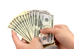 American dollar banknote in the hand Stock Photo