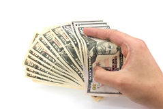 American dollar banknote in the hand.  Stock Photo