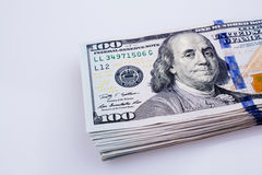 American 100 dollar banknotes placed on white background Stock Images