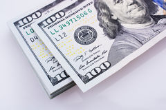 American 100 dollar banknotes placed on white background Stock Photography