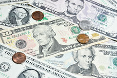 American Dollar bills with coins Stock Photo