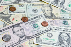American Dollar bills with coins Royalty Free Stock Photography
