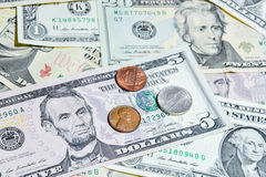 American Dollar bills with coins Royalty Free Stock Photo