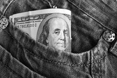 American dollar bills in jeans Royalty Free Stock Photography