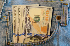 American dollar bills in jeans pocket Royalty Free Stock Photos
