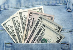 American dollar bills in jeans pocket Stock Images