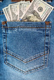 American dollar bills in jeans pocket Royalty Free Stock Photography