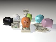 American Dollar Bills Piggy Bank Stock Photo