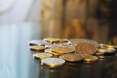 American dollar cent coins, macro view. American dollar and cent coins, macro view stock images