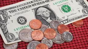 American dollar and change Stock Photos