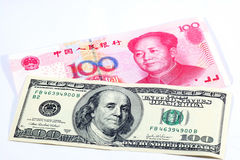 American dollar and chinese yuan bills Royalty Free Stock Images