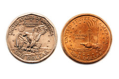 American Dollar Coin Comparison Stock Image