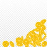 American dollar coins falling. Scattered big USD coins on transparent background. Likable bottom right corner vector illustration. Jackpot or success concept Royalty Free Stock Image
