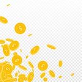 American dollar coins falling. Scattered floating USD coins on transparent background. Superb scattered bottom left corner vector illustration. Jackpot or Stock Photography