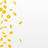 American dollar coins falling. Scattered sparse USD coins on transparent background. Noteworthy scatter left gradient vector illustration. Jackpot or success Stock Photo