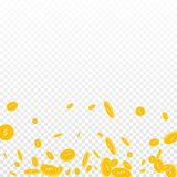 American dollar coins falling. Scattered disorderly USD coins on transparent background. Indelible scatter bottom gradient vector illustration. Jackpot or Royalty Free Stock Images