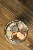 American Dollar Currency Coins in Jar Pennies Nickels Quarters Dimes. A selection of coins contained in a glass jar stock photography