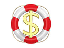 American dollar with lifebuoy, 3d rendering Royalty Free Stock Photo