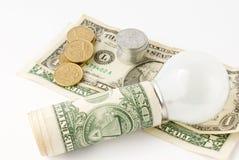 American dollar with lightbulb Stock Photos