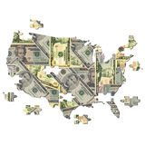 American dollar Map jigsaw Royalty Free Stock Photography