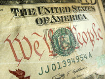 American Dollar with We The People Inscription Hig Stock Photos
