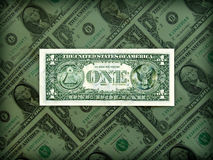 American Dollar prestige in clear position. On bills bacjground pattern stock images