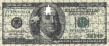 American dollar puzlle. US money - 100 US dollar puzzle composition Royalty Free Stock Photography