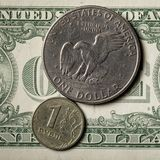 American dollar and Russian ruble, top view. Decline in the economy Stock Images