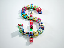 American dollar sign, made of many gifts. Stock Image