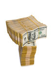 American dollar stack isolated Royalty Free Stock Photo