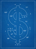 American dollar symbol blueprint Royalty Free Stock Photography
