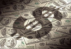 American dollar symbol on money background Royalty Free Stock Image