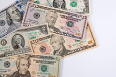 American dollar  or US dollar banknote on table. Stock Photo