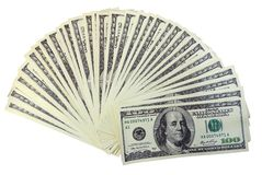 The american dollars. Fan from american dollars banknotes. Isolate on white Royalty Free Stock Photos