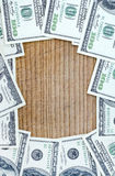 American dollars. On wood,  background Royalty Free Stock Image