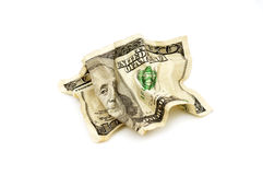 American dollars. Crumpled american dollars on white background stock photo