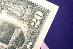 American dollars on american flag. Close up Stock Photos