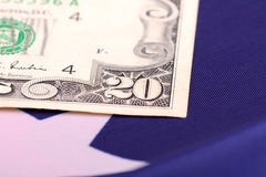 American dollars on american flag. Close up Stock Image
