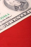 American dollars on american flag Royalty Free Stock Photo
