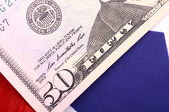 American dollars on american flag Stock Image