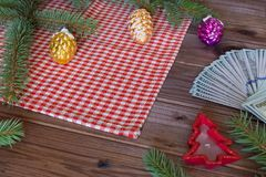 View of the American dollars as a Christmas gif t or a Christmas spending concept Royalty Free Stock Photography