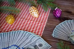 View of the American dollars as a Christmas gif t or a Christmas spending concept Stock Images
