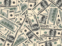 American dollars background. One hundred banknotes. 3D illustration Royalty Free Stock Photos