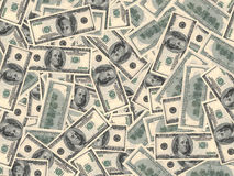 American dollars background. One hundred banknotes. 3D illustration Royalty Free Stock Photo
