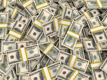American dollars background. One hundred banknotes pack. 3D illustration Stock Images
