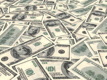American dollars background. One hundred banknotes. Perspective view. 3D illustration Royalty Free Stock Photos