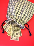 American dollars in bag Royalty Free Stock Image