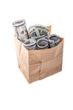 American dollars in bag Stock Photography